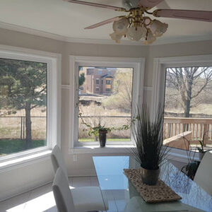 amazing dining room with new windows to backyard - window replacement brampton