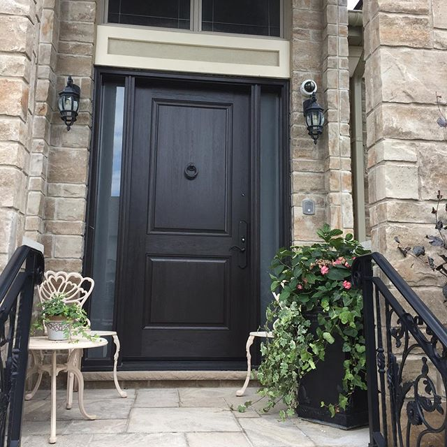 glass sidelights in custom front door - front doors replacement toronto
