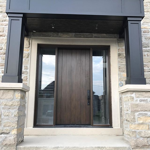 sturdy glass inserts in the sides of front door - canpro exterior doors markham