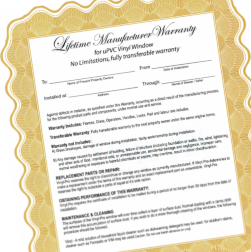 photo of document - lifetime manufacturer warranty